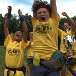 Kids celebrate big eco race win